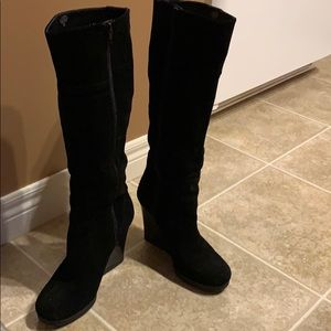 Tall Nine West Black Suede Boots